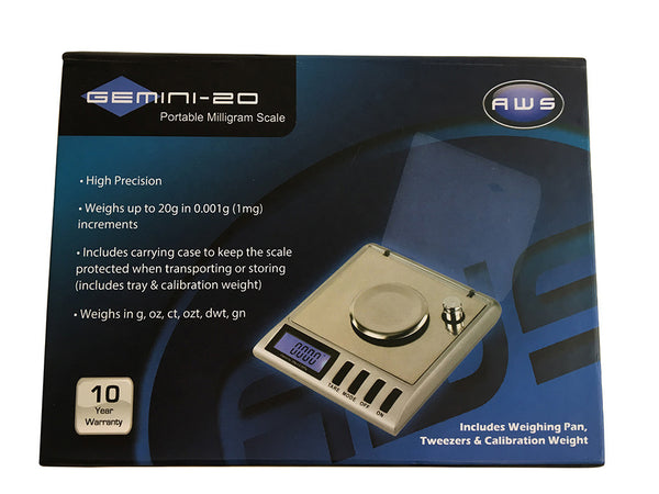 AWS GEMINI-20 Portable MilliGram Sensitive Scale, 20g x 0.001g