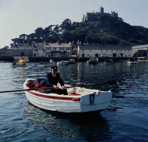 A high-tide delivery to St. Michael's Mount, Cornwall