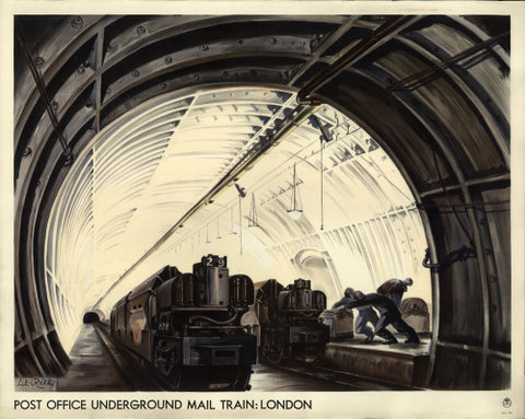 Poster depicting the London underground mail train