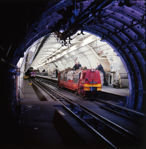 Loading the locomotive at the platform, taken from the tunnel. c.1969