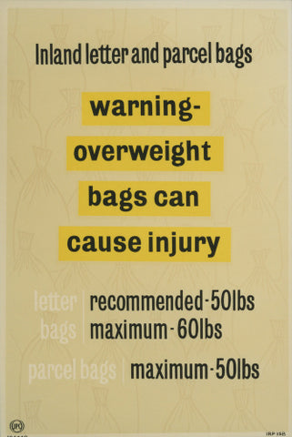 Warning! Overweight bags can cause injury