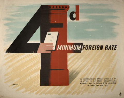 Poster advertising the minimum rates for foreign postage