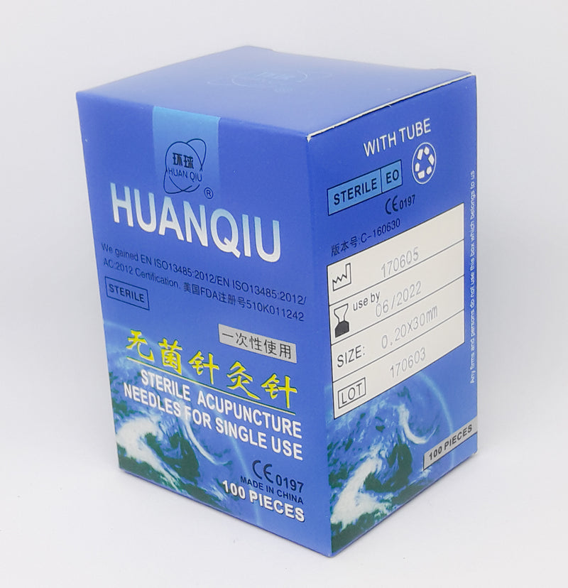 Huanqiu Acupuncture Needles box side view (0.16- 0.20 Gauge)