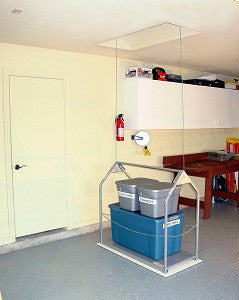 Attic lift with storage containers