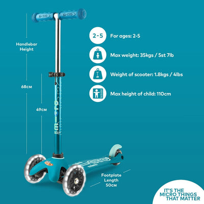 MINI MICRO LED DELUXE SCOOTER AQUA