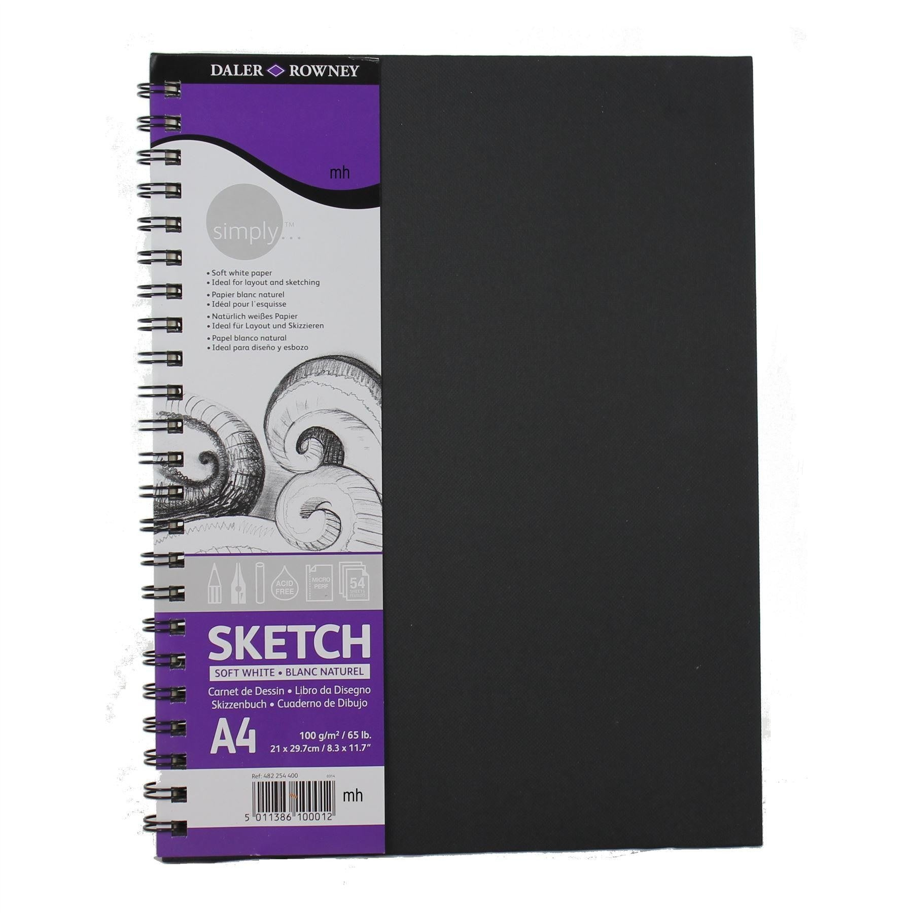 Daler Rowney Simply Sketchbook/  / White Espiral a4
