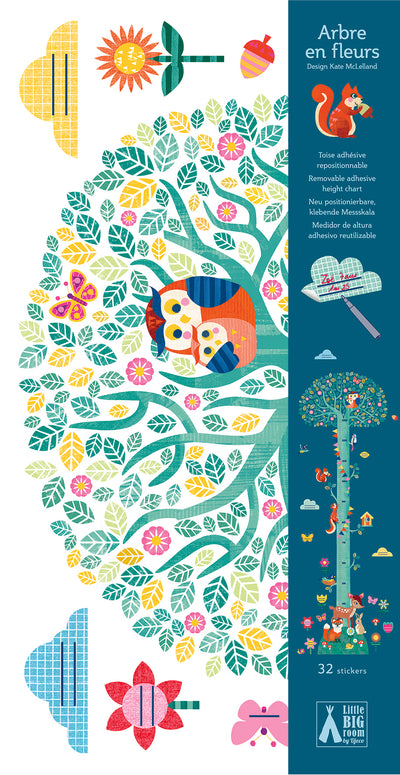 djeco wall stickers: arbre en fleurs height chart - nimble fingers