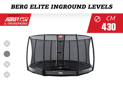 BERG 14FT ELITE INGROUND LEVELS GAME TRAMPOLINE + SAFETY NET DELUXE