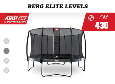 BERG ELITE 14FT LEVELS GAME TRAMPOLINE + SAFETY NET DELUXE