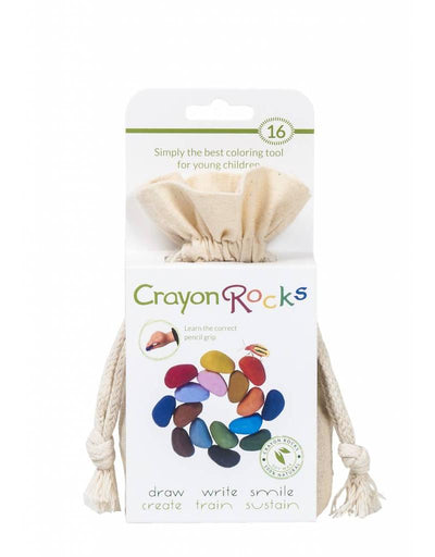 Crayon Rocks 16 pastel and primary colors in a cotton bag