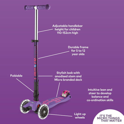 MAXI MICRO LED DELUXE FOLDABLE SCOOTER PURPLE