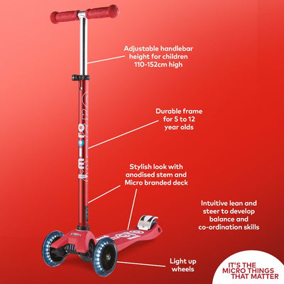 MAXI MICRO LED DELUXE SCOOTER RED