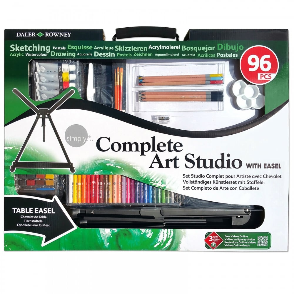 Daler Rowney Complete Art Studio With Easel (96 Pieces) - Nimble Fingers