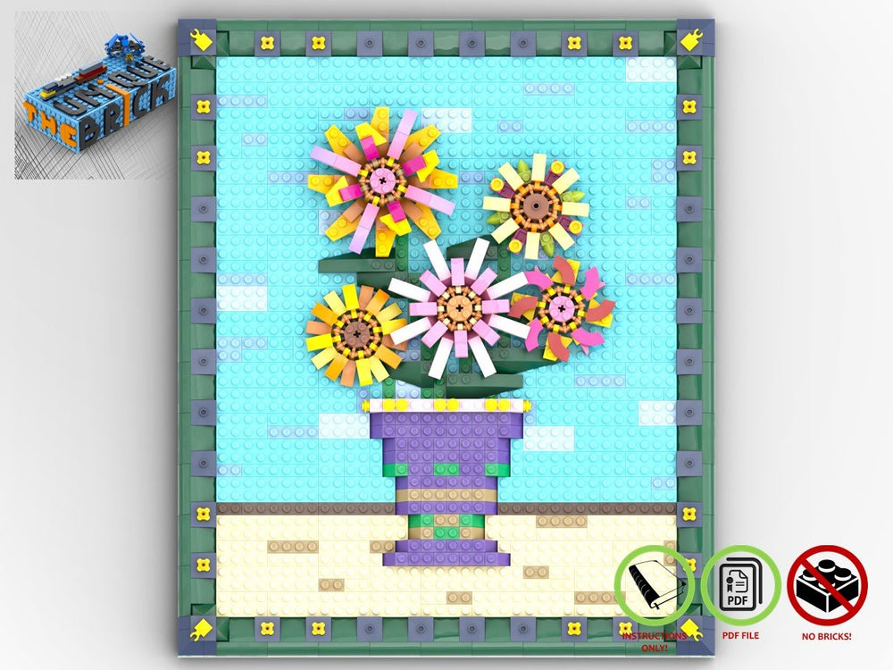 LEGO-MOC - Flowers Picture Frame - The Unique Brick