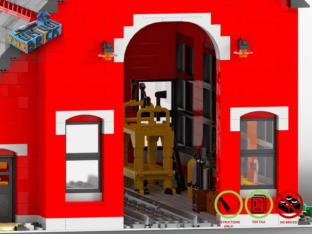 LEGO-MOC - Train Engine Shed (Red) - The Unique Brick