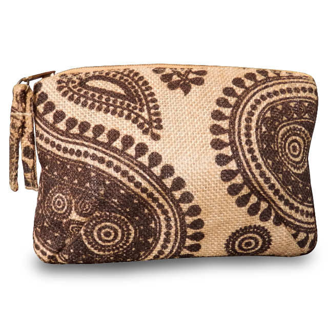 Paisley Jute Cosmetic Bag