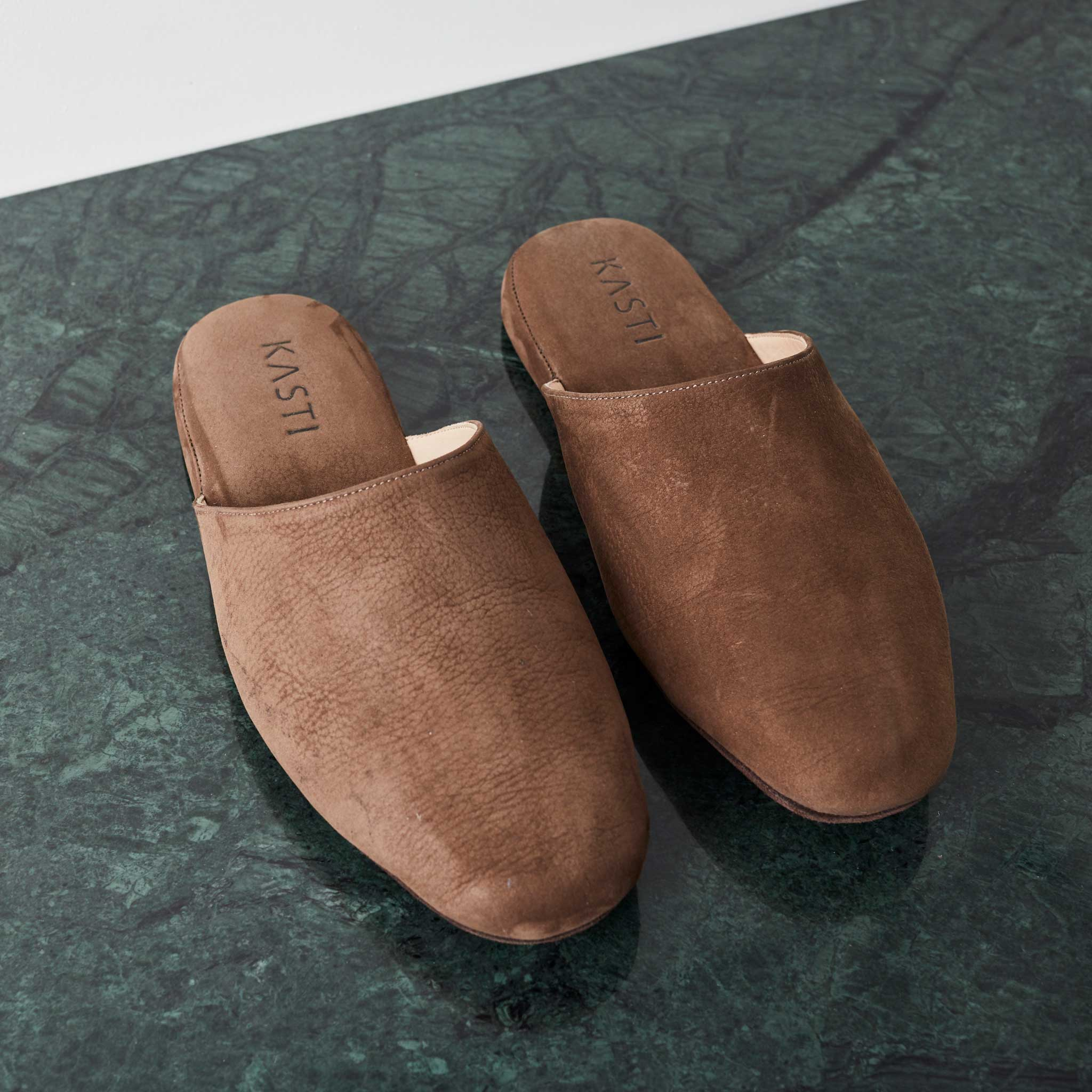 MARS Nubuck leather slipper brown