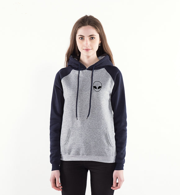 Alien Face Hoodie Women (Grey/Navy2) - PMG Goods