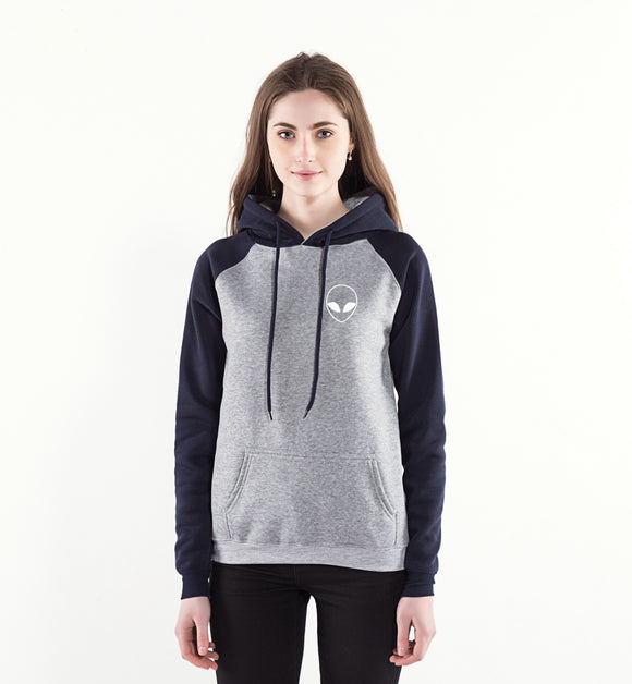 Alien Face Hoodie Women (Grey/Navy) - PMG Goods