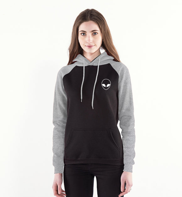 Alien Face Hoodie Women (Black/Grey) - PMG Goods