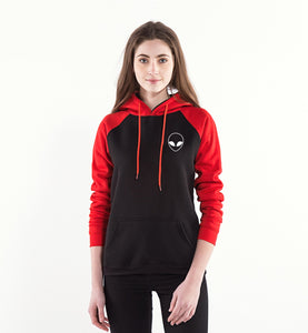 Alien Face Hoodie Women (Black/Red) - PMG Goods