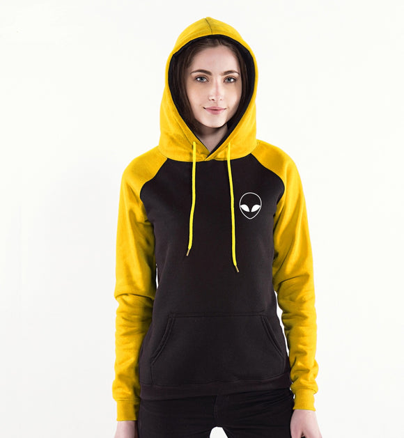 Alien Face Hoodie Women (Black/Gold) - PMG Goods