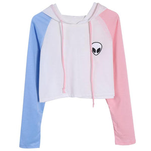 Alien Print Crop Top Hoodie Women - PMG Goods