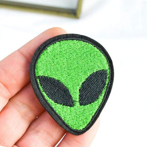 Green Alien UFO Iron on Patch - PMG Goods