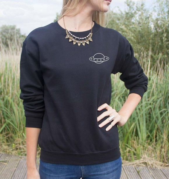 Flying Saucer Sweatshirt Women (Black or White) - PMG Goods