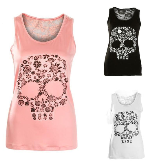 Skull Print Tank Top Lace Back - PMG Goods