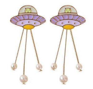 UFO Metal Fashion Brooch or Earring Imitation Pearl - PMG Goods