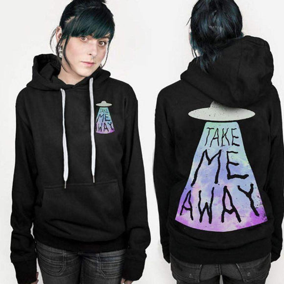 UFO 'Take me away' Print Long Sleeve Fleece Hoodie Women - PMG Goods