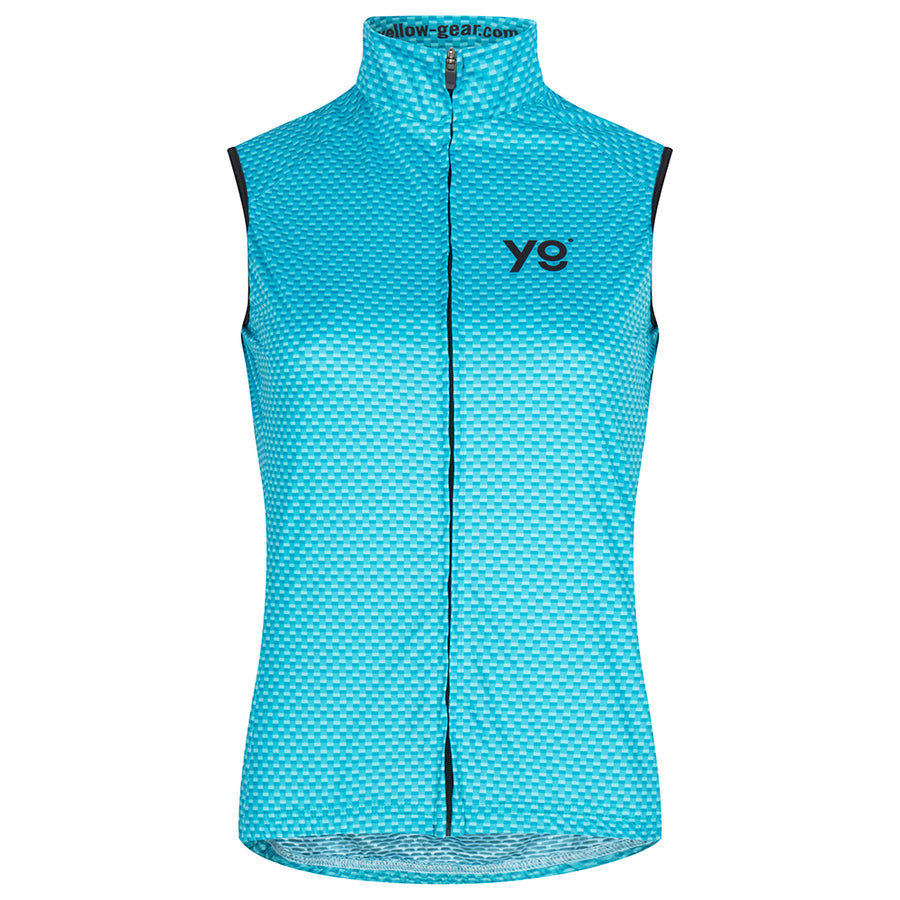womens cycling vest with a bright blue colour