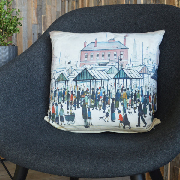 "Cushion Cover ""Market Scene, Northern Town (1939)"""