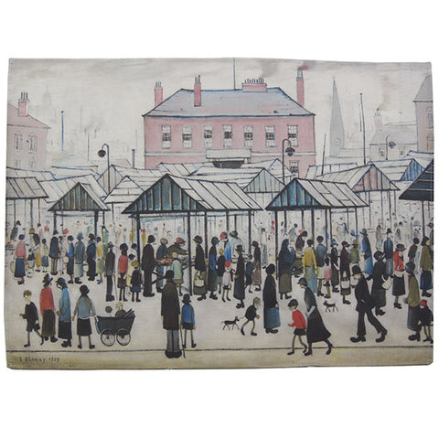 "Tea Towel ""Market Scene, Northern Town (1939)"""