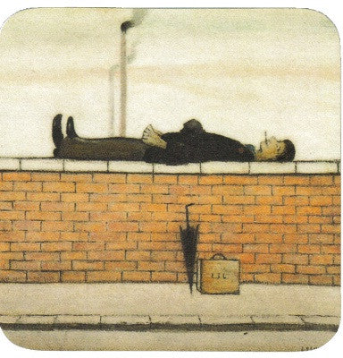 Picture of ceramic coaster ls lowry man lying on a wall