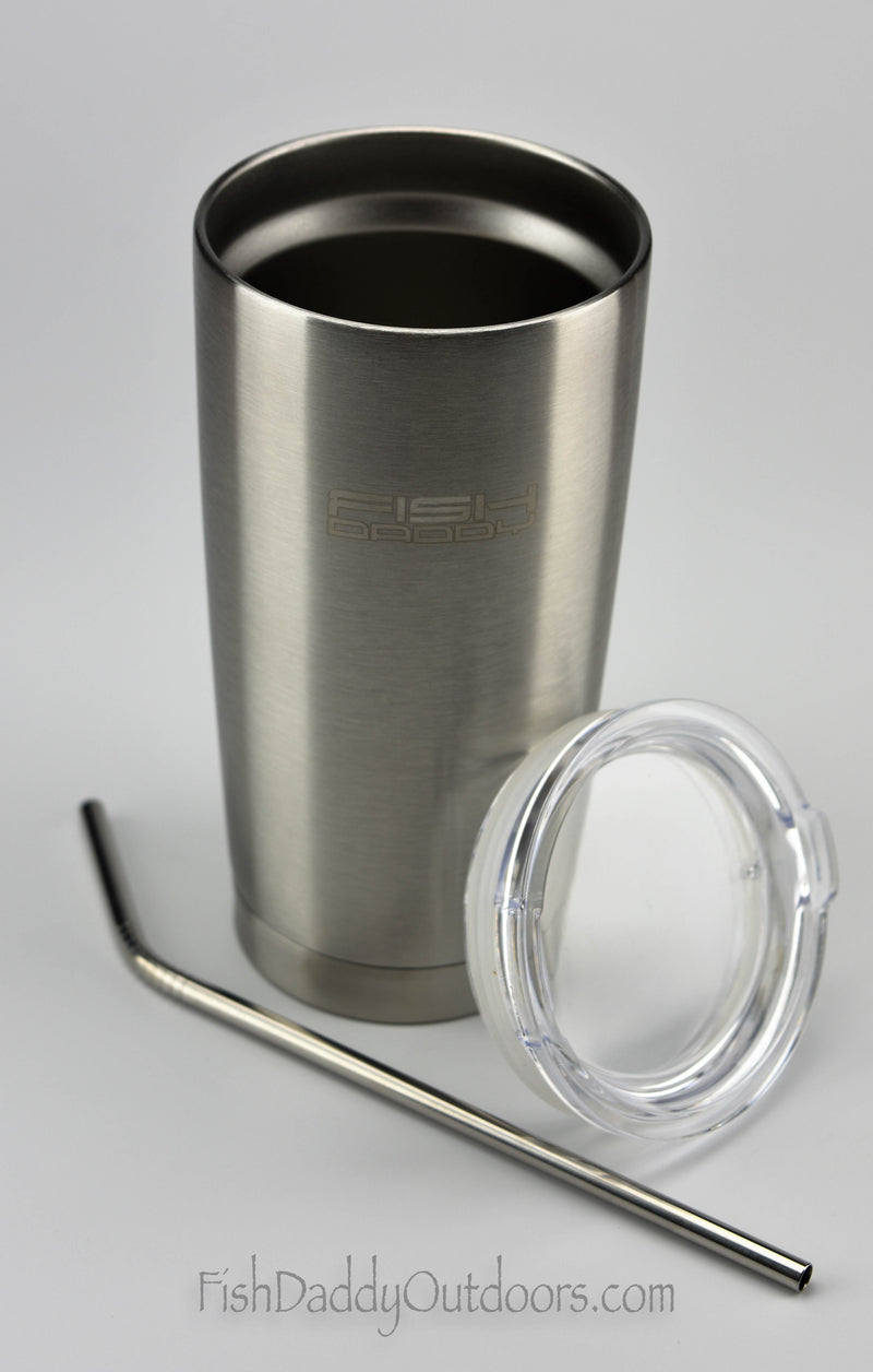 FishDaddy - 20oz - 18/8 Stainless Steel - Vacuum Insulated - Coffee Tumbler - Stainless Steel Straw