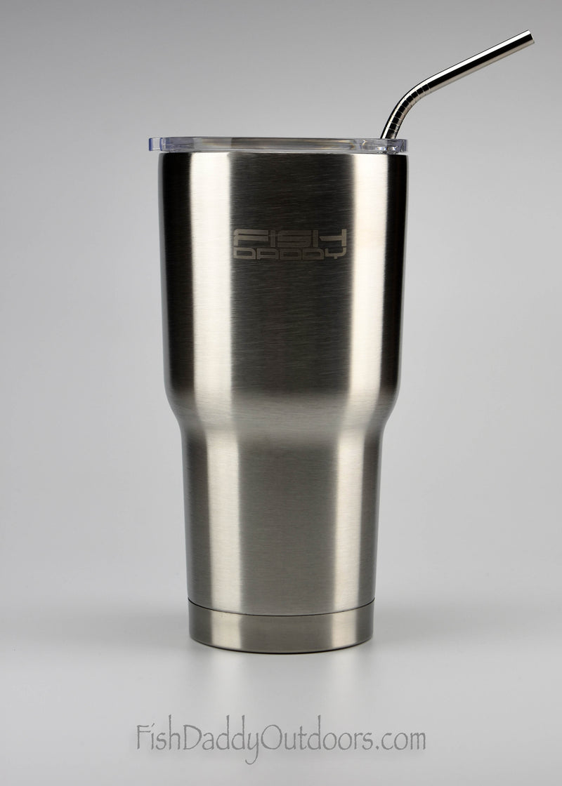 FishDaddy - 30oz - 18/8 Stainless Steel - Vacuum Insulated - Coffee Tumbler - Stainless Steel Straw - Laser Engraved