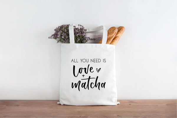 hand lettered printed tote for matcha lovers