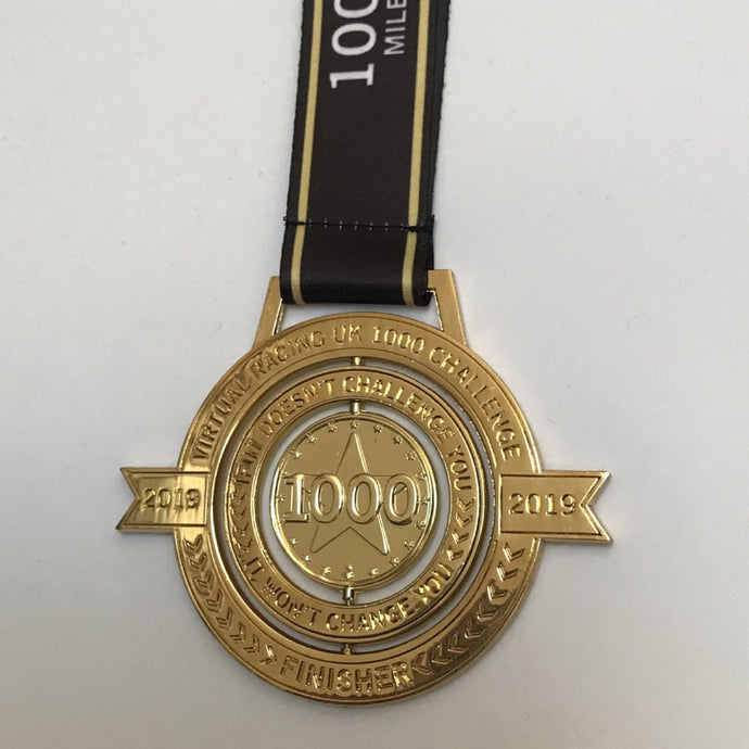 1000 miles km annual medal