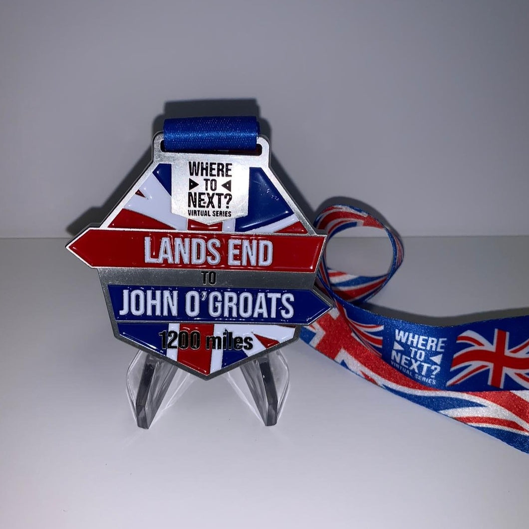 1200 miles Lands End to John O'Groats