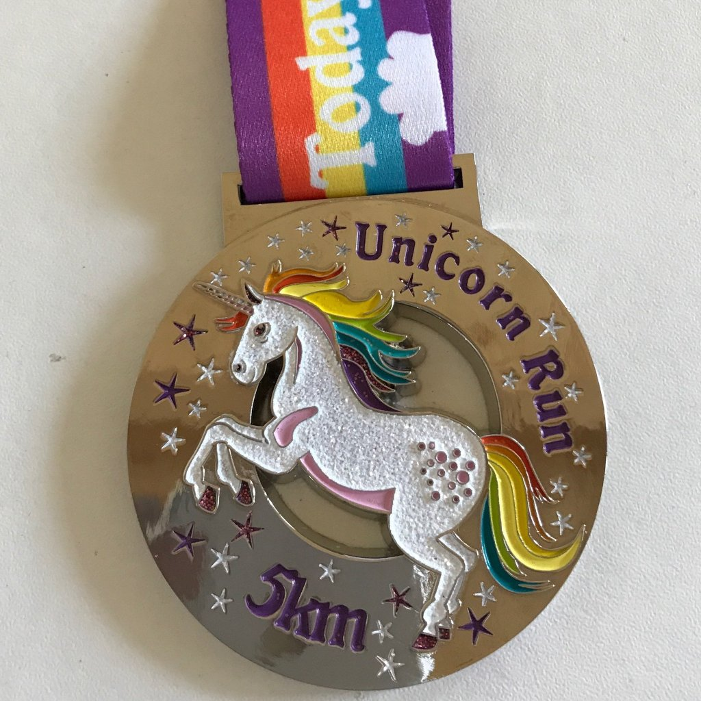 unicorn sparkly medal virtual runner
