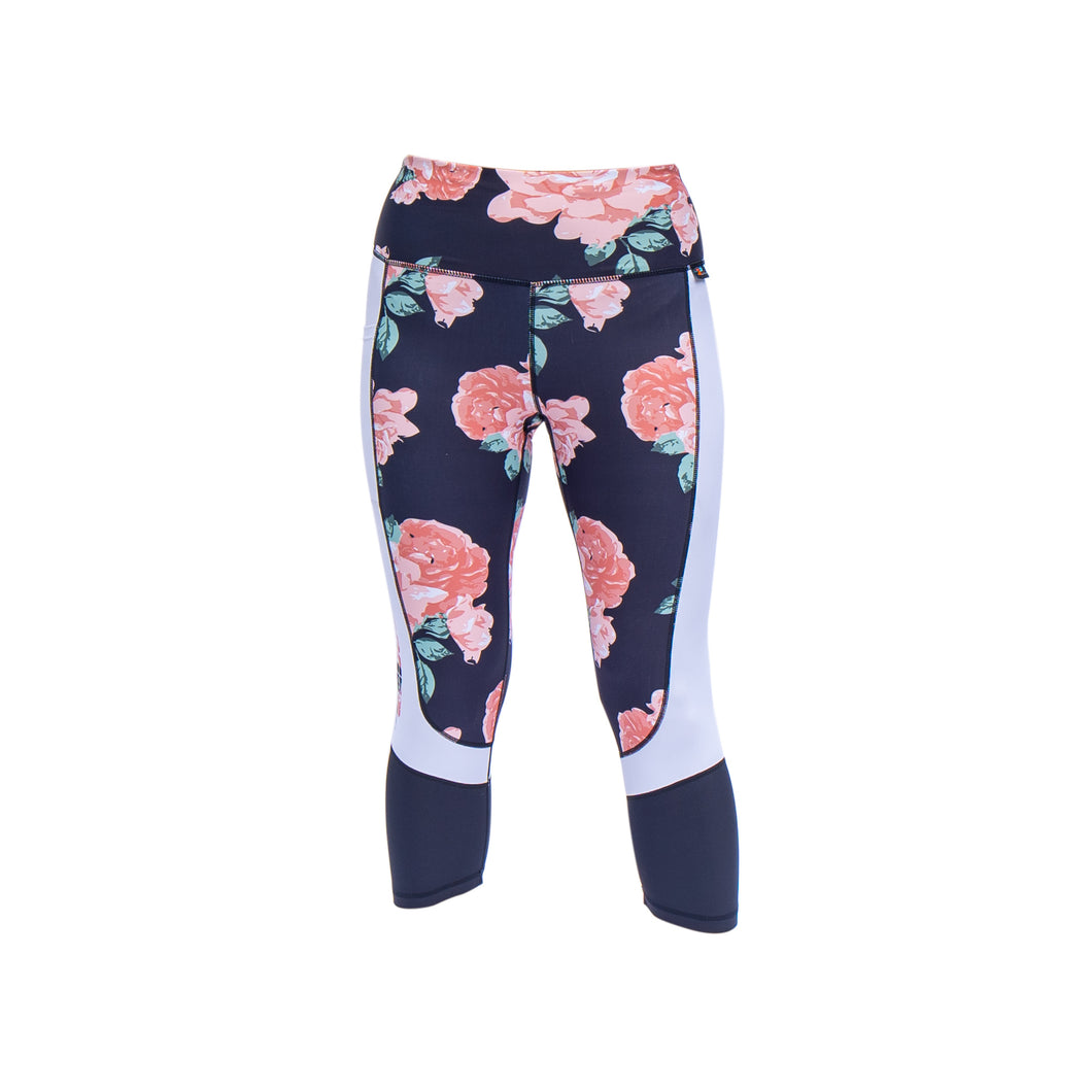 blush roses capri leggings