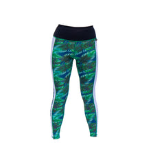 tropical palm print illusion leggings