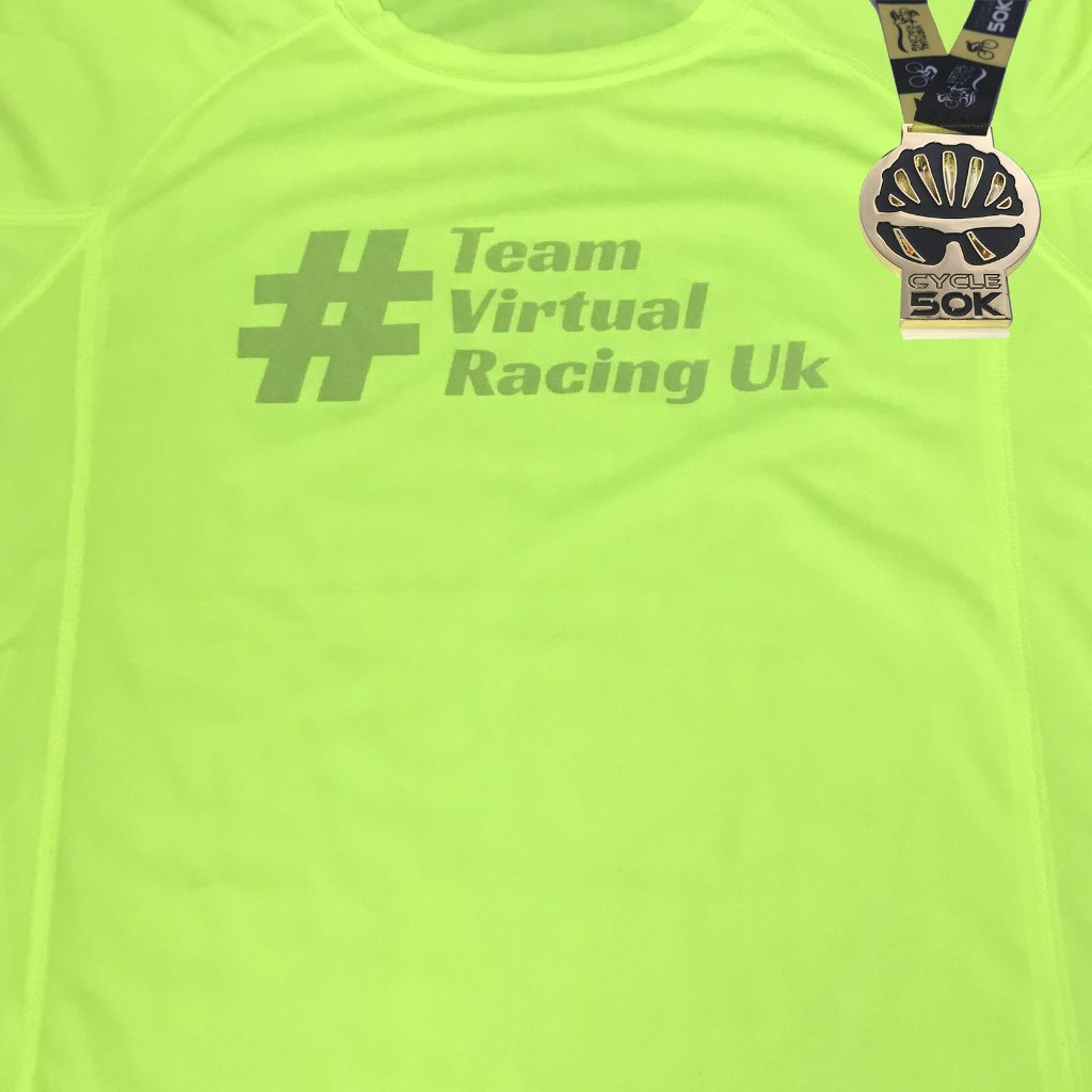 Black & Gold Cycle Medal & Team Virtual Racing UK Tee - Size XL