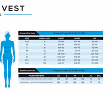 size chart ladies running vest TEAMVRUK