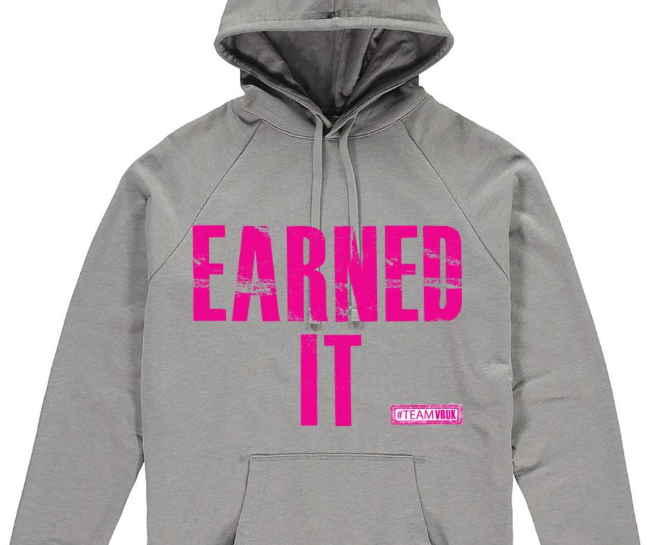 TeamVRUK Unisex Grey Hoody Earned It Pink print