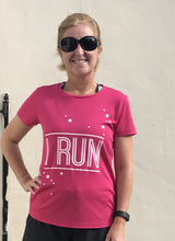 I Run Pink Fizz T Shirt Model Image