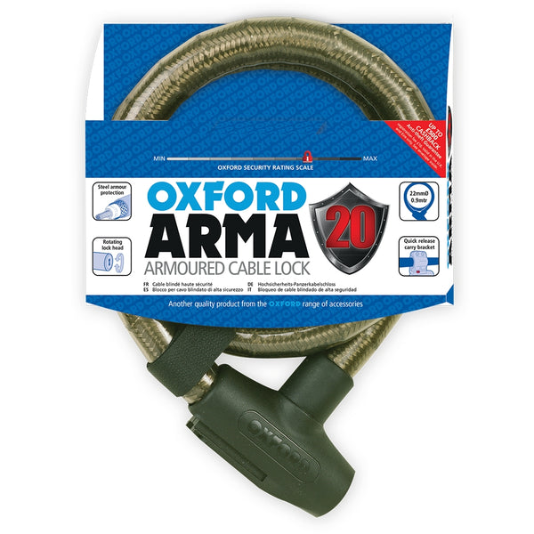 Oxford Arma20 Armoured Cable Lock 22mm x 900mm Smoke