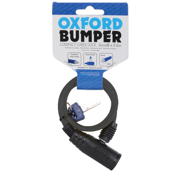 Oxford Bumper cable lock Smoke 6mm x 600mm